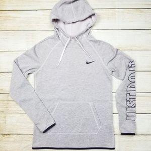 Nike Gray Pullover Hoodie Thumbholes Sz XS